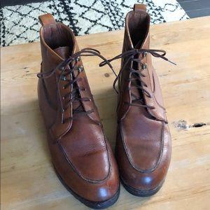 Cole Haan cognac tie booties